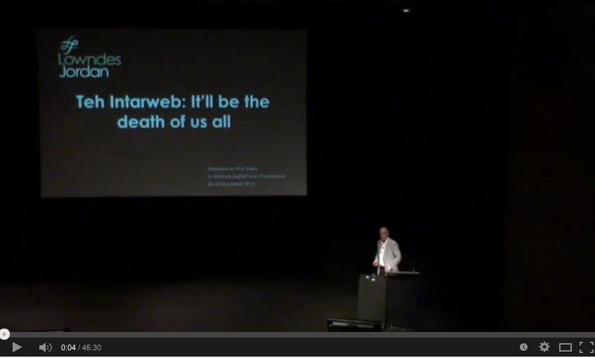Video of Rick Shera's Keynote address to National Digital Forum Conference 2014 - Teh Intarweb: It'll be the death of us all